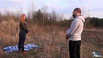 Redhead beauty convinced to fuck outdoor with wierd stranger