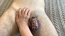 Female supremacy. CBT caged cock
