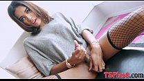 Sultry shemale masturbates her hard cock