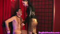 Smoking bdsm mistress caging her pathetic sub preview image