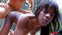 Black babe with perfect body fucked in the ass in the woods pornhub video