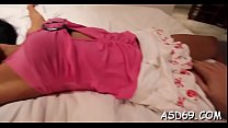 Experienced thai bimbo plays with a guy's schlong for relaxation