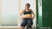 Astonishing Japanese babe got horny during the solo fitness training preview image