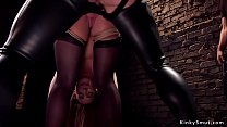 Brunette slave is dp toyed in dungeon