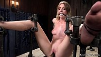 Babe bound in device pierced pussy toyed