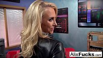 Blonde babe Alix Lynx gets freaky and sucks off the cameraman!