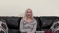 Nubile blonde Elsa strips for anal fucking cum in mouth