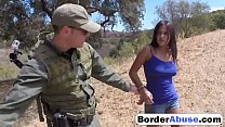 Border Patrol Catches Sexy Civilian Girl And Fucks Her Little Pussy