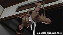 Lovely Japanese cutie gets bound, suspended and tormented thumbnail