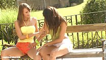 Beautiful brunettes Klaudia and Veronika from Sapphic Erotica have outdoors fun