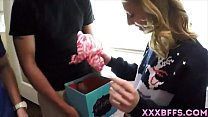 Teen chicks getting a surprise. Dicks in the xmas box