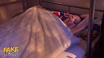 Fake Hostel Young girl double penetrated by two huge cocks