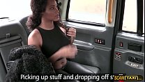 Big tits ebony babe receives a hot cum after sex inside the cab