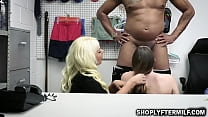 Horny stepmom lets the officer fuck her thief stepdaughter
