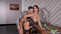 Busty lovers Chloé Lamour titty fucked and wet pussy pounded till she cums