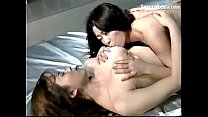 2 Busty Girls Kissing Passionately Rubbing Licking Breasts On The Bed