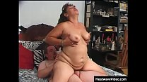 Fat grandma turns up for her shoot in tight panties that press deep into her ass