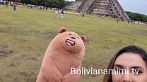 No pantys at Chichen Itza México .... i got some presents for showing my pussy and let them touch a little bit  Full video on bolivianamimi.tv