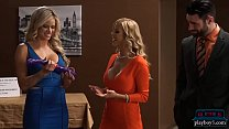 Shark tank parody becomes hot threesome on the set Preview