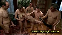 12354 Tied up blonde asshole fucked in group preview