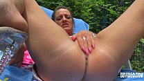 Busty german milf masturbating outdoors