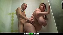 Mega-boobs fatty gets fucked in the shower