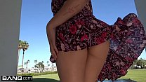 Mia Li shows off her bushy pussy in some upskirt action outside!