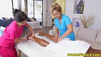 Asian masseuses riding bbc in threesome