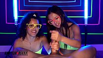 Amateur Boxxx Lulu Chu And Ella Cruz Give Neon Handjob