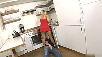 Frisky blonde MILF wants to suck hot plumpers cock in the kitchen
