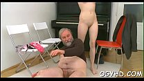 Steaming young chick fucks old fellow