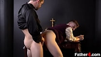 Horny priest coaxes the boy to be a little sinful and give him the best Christmas present