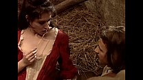 Hot whore in historical dress banged in a barn Thumbnail