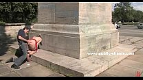 Image: Blonde in red dress public humiliation