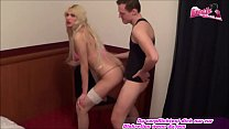 Skinny german blond shemale anal at chair