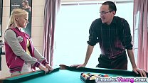 Marsha May plays and fucks on a pool table