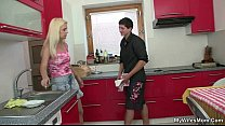 Cheating sex at kitchen with blonde mother inlaw thumb