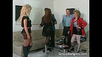 Brutal threesome with blonde