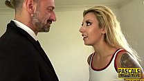 Deep Throating Bound Blonde Submissive