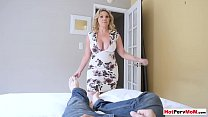 My chubby MILF stepmother surprised me with a blowjob