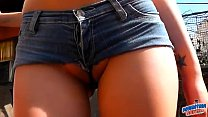 Little Redhead Teen Cameltoe and Masturating in Tight Shorts