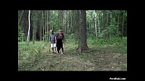 Busty granny having fun in the forest