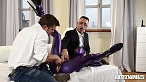 Submissive Latex Lucy spanked, fingered and dominated by two studs Vorschaubild