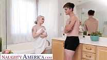 Naughty America - Haley Spades loves to masturbate and fuck her friend's brother in the bathroom