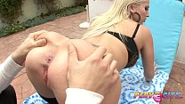 PervCity Blonde Nympho Lubes a Cock with Spit
