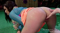Ass spanked hottie anal fucked in lezdom