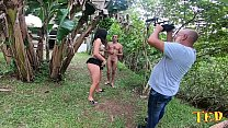 Pamela Pantera prepares to face bamboo in the middle of banana trees in the making of - Big Bambu - Sandro Lima