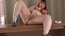 A beautiful bbw with a big ass masturbates on the table and gets anal orgasm, amateur solo. thumbnail