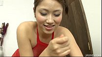 Iori in Red Fishnet Body Stocking Giving a Footjob thumb