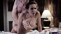 Charming teen dauther Ashley Adams is so kind to give her pussy and ass and double fucked by her horny boyfriend and evil stepdad.